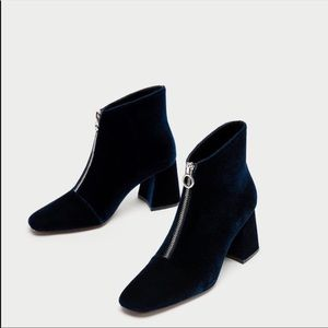 Zara Navy Blue Chunky Heel boots